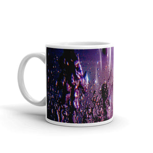 "Ceramic coffee mug printed with our vivid water and light design, ""The Seventh Ray"""