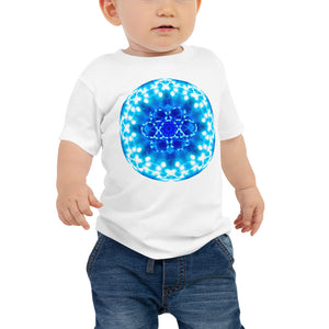 "Baby T shirt printed with a unique and vivid blue mandala ""Angel Choir 1"" design."
