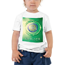 Load image into Gallery viewer, Our Wonder card design in a quality white toddler t shirt