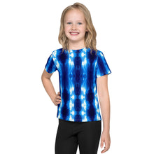 "Load image into Gallery viewer, Kid's T shirt printed with a unique and vivid ""The Gate"" all over print design. Beautiful underwater photography. Blue and Black"