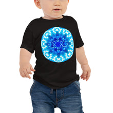 "Load image into Gallery viewer, Baby T shirt printed with a unique and vivid blue mandala ""Angel Choir 1"" design"