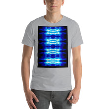 Load image into Gallery viewer, Men's T shirt printed with a unique and vivid  design. Beautiful underwater photography. Electric Blue and Black.