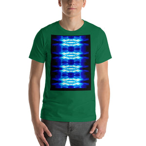 Men's T shirt printed with a unique and vivid  design. Beautiful underwater photography. Electric Blue and Black.