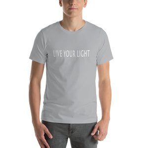 "Living Light Designs Men's T shirt printed with a unique and vivid ""LIVE YOUR LIGHT"" design. available in many colors"