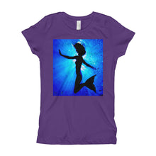Load image into Gallery viewer, Powerful mermaid design on classic girls purple T shirt