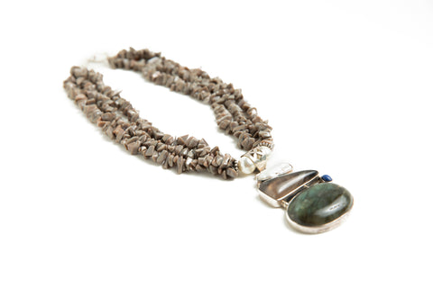 Grey Beach Stone Necklace
