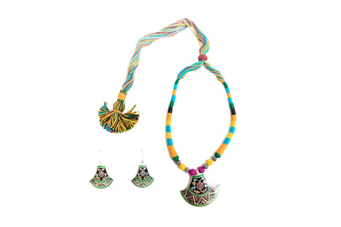 Multi Thread Meenakari Necklace Set