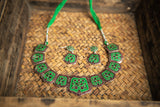 Green Carved Necklace Set