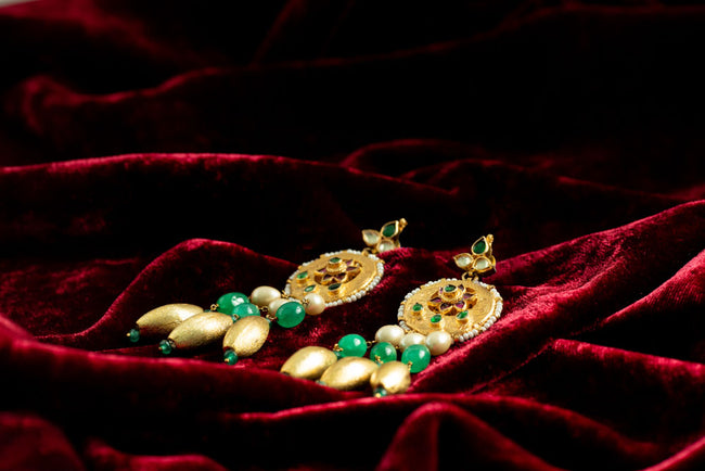 Green Rayan Beads Earring