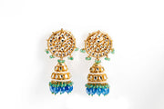 Blue Green Jadtar Earring