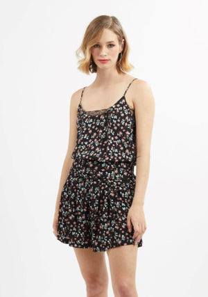 Drama the Label Adore Cami in Spring Flower with Black Lace