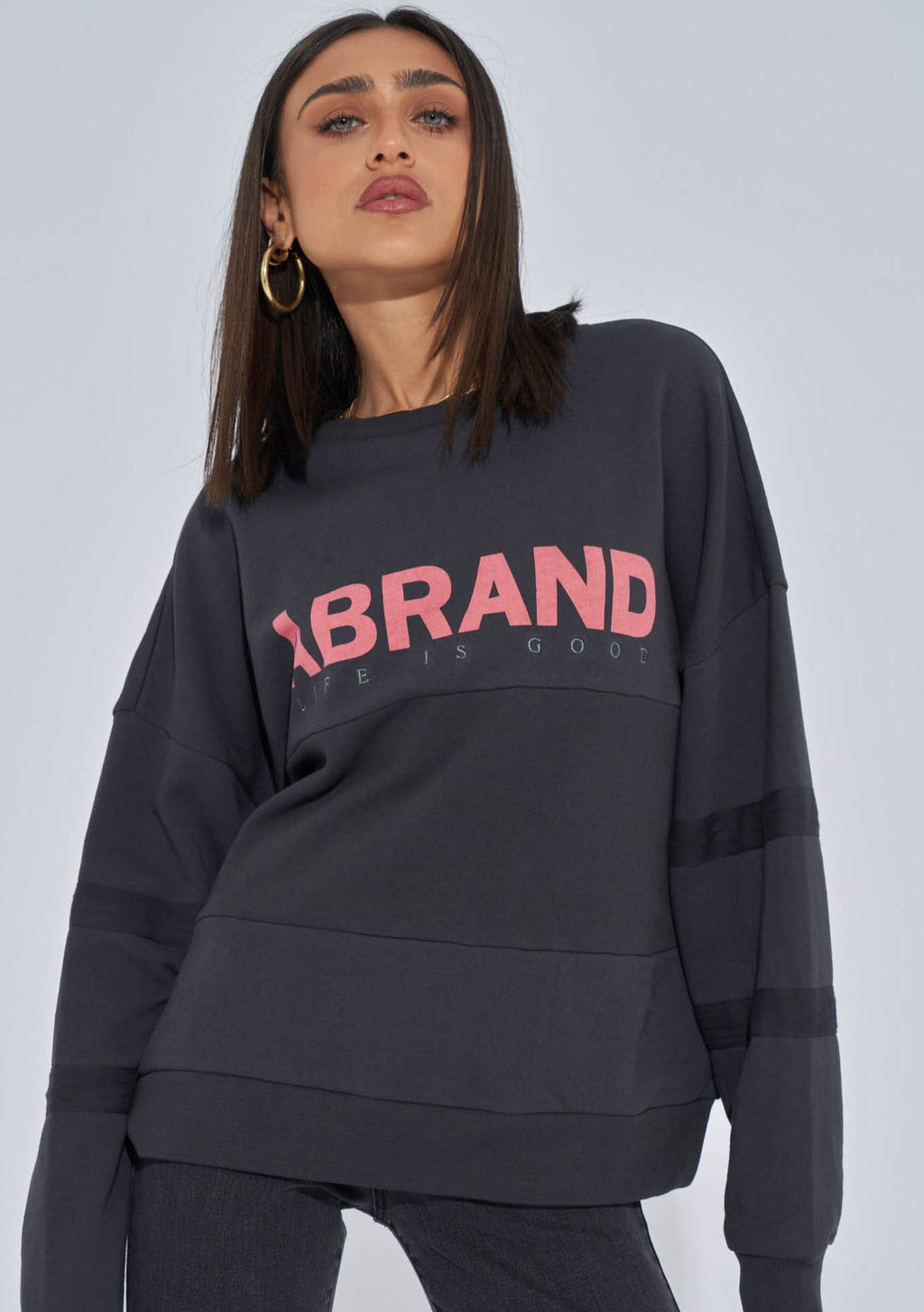 A Brand Oversized Panelled Sweater in Washed Black