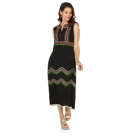 NAUDIC Vintage Tully Dress Neva Embroidery in Black/Green/Red