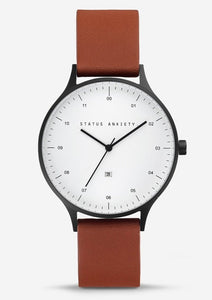 Status Anxiety Inertia Watch - White face / Tan Strap