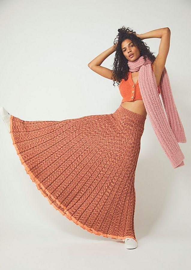Free People Gold Coast Knit Maxi Skirt in Ambered Coral