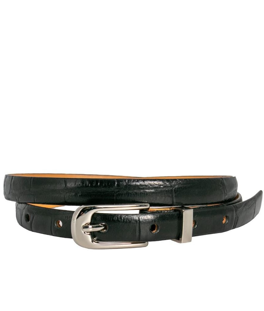 Loop Leather Chico Belt in Black Croc