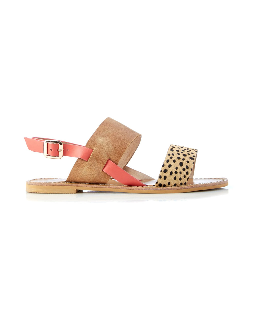 Walnut Melbourne Camelia Sandal in Tan Leopard