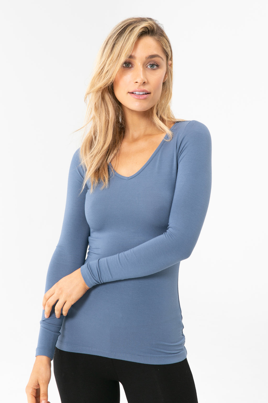 Bamboo Body Long Sleeve V Neck in Storm