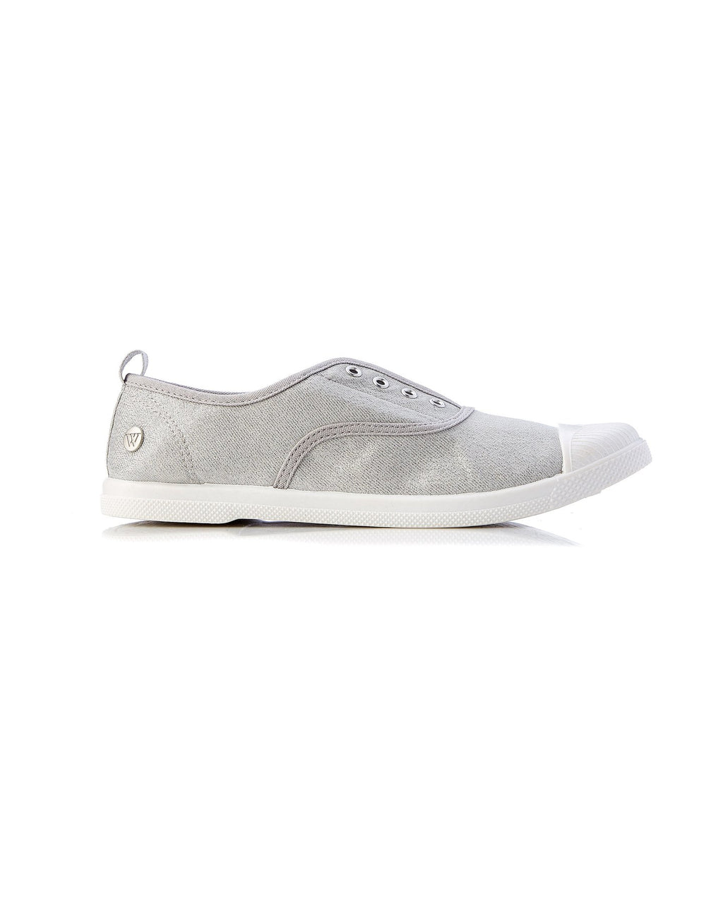 Walnut Melbourne Euro Canvas Plimsole Sneakers in Silver