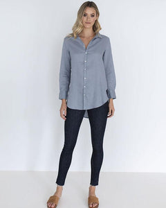 Humidity the Linen Shirt in Storm Blue
