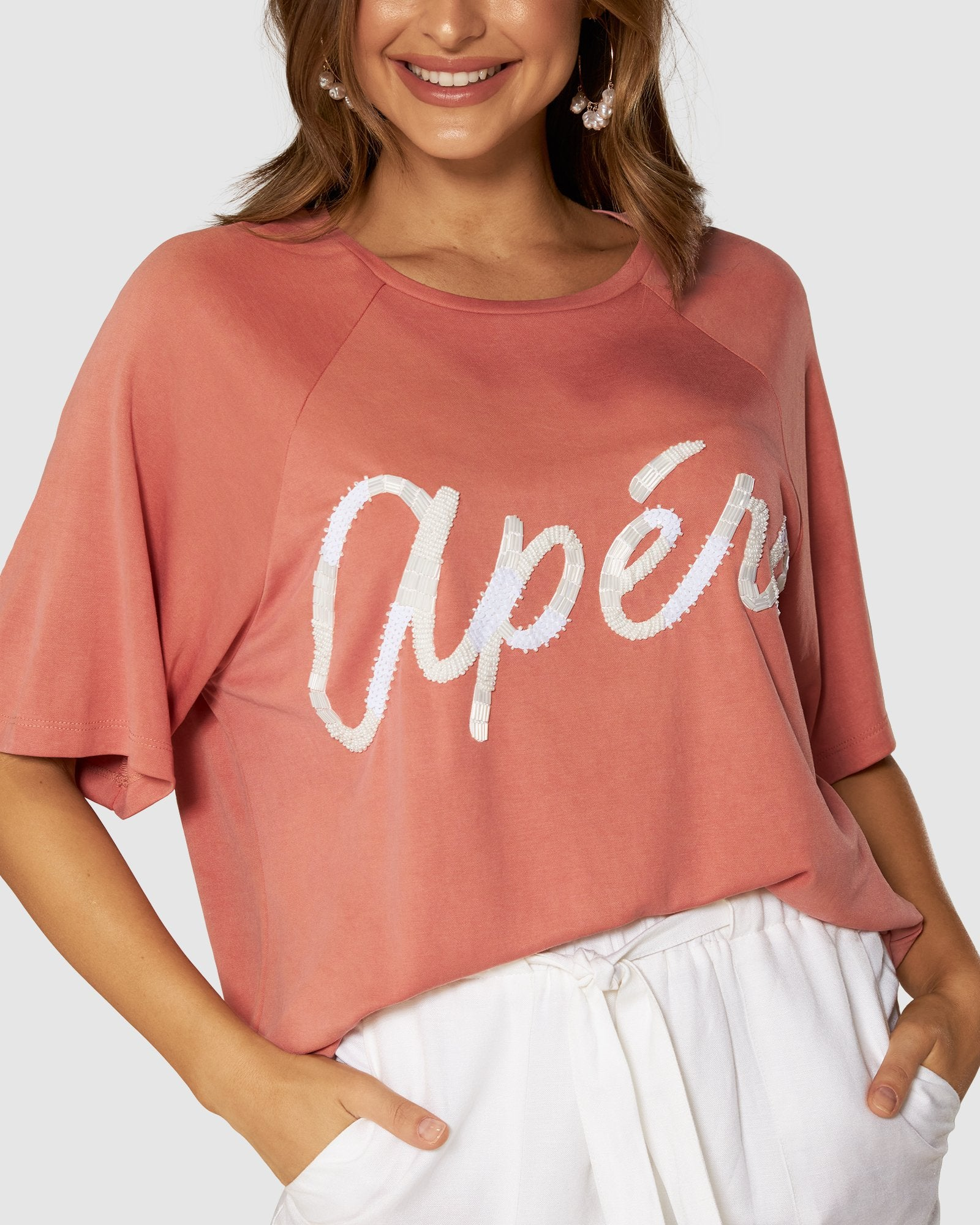 Apero Colada Beaded Oversized Tee in Peachy Pink/White