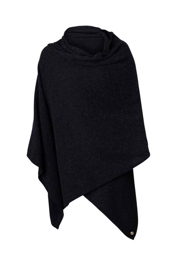 Mia Fratino Pure Cashmere Travel Wrap in Jet Black