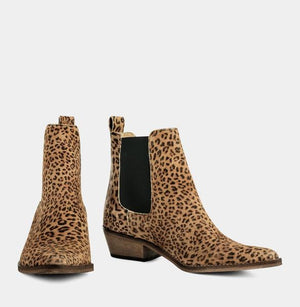 Ivy Lee Stella Boot in Split Leather Leopard Beige