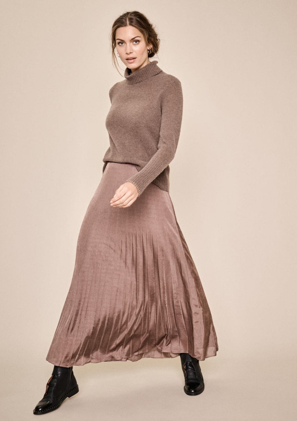 Mos Mosh Plisse Jersey Skirt in Choco Chip