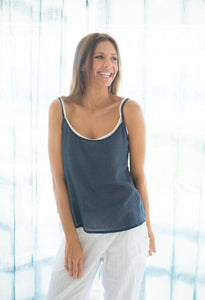 Humidity Cotton Slip Top Navy