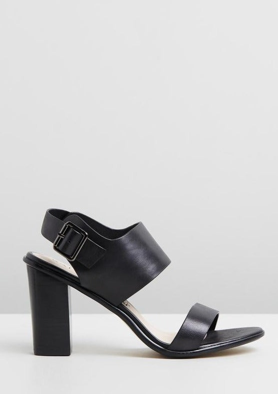Walnut Havana Leather Block Heel in Black