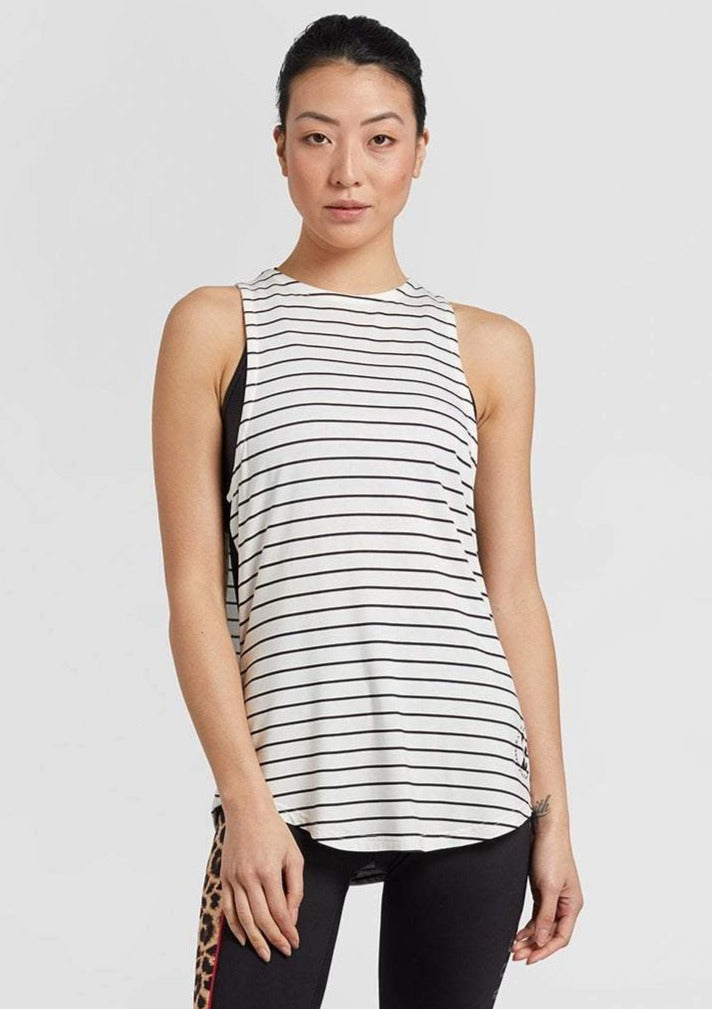 Zambia Double Layer Top White/Stripe