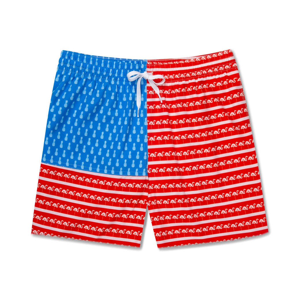 a19227d63c2ef FLAMINGO PRINT AMERICAN FLAG SWIM TRUNKS. SPEND $175 TO UNLOCK THIS GIFT.