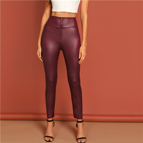 Zip Front High Waist Slim Fit Leggings