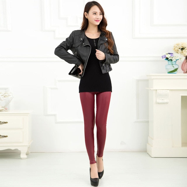 Women Pants Leather Legging
