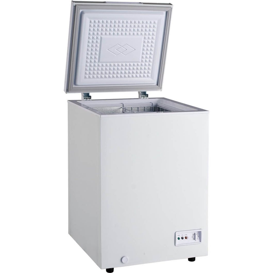 Chest freezer with 93L internal capacity.