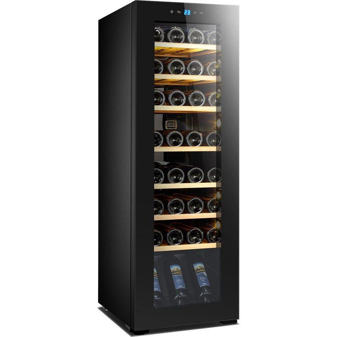 Luxury full glass Door Premium Wine Fridge. Single Zone for 34 Bottles (W*D*H): 400 x 526 x 1205mm
