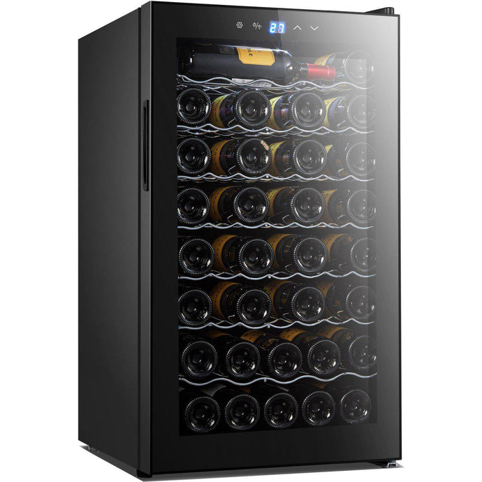 High Performance Wine Fridge, Single Zone Black Stainless Steel for 50 of your Best Bottles (W*D*H): 495 x 565 x 848mm
