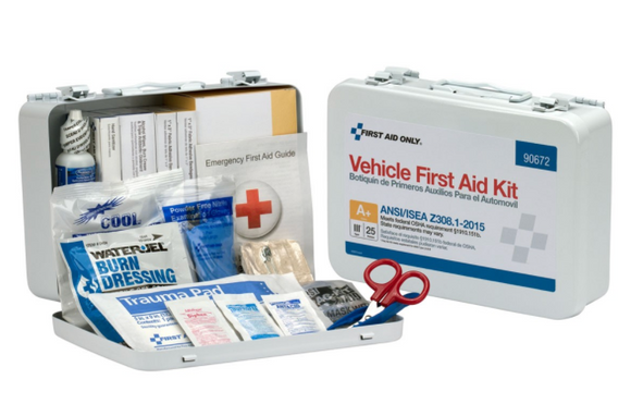 25 Person Vehicle First Aid Kit, Metal Weatherproof Case, ANSI Compliant