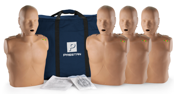 Prestan Professional Adult CPR-AED Training Manikin (Dark Skin, with CPR Monitor) 4-Pack