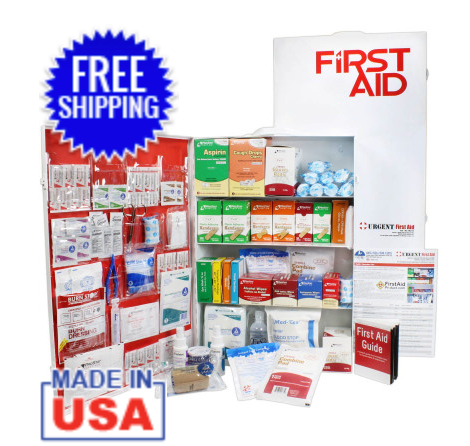 4 Shelf Industrial ANSI A+ First Aid Station with Door Pockets