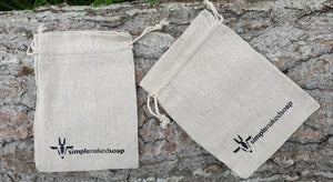 simplenakedsoap 100% Cotton Bag suitable for storage of bars or using as a scrub with a bar inside the bag