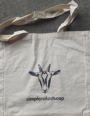 simplenakedsoap cotton shopping bag with cassanova goat print