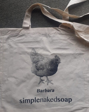 simplenakedsoap cotton shopping bag with barbara chicken print