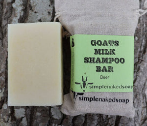 simplenakedsoap goat milk beer shampoo bar no conditioner needed