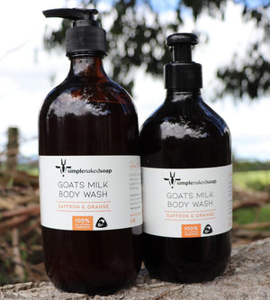 simplenakedsoap goat milk body wash saffron and orange