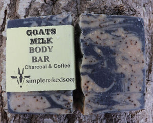 simplenakedsoap goat milk charcoal and coffee body bar