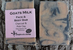 simplenakedsoap goat milk charcoal and pink clay face and body bar