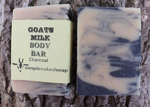 simplenakedsoap goat milk charcoal body bar nourishing and moisturizing deep cleansing