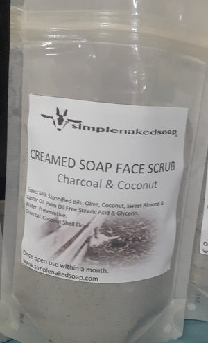 simplenakedsoap creamed soap face scrub refill in compostable pouch