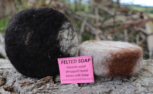 simplenakedsoap alpaca fibre felted goat milk soap soft gentle flannel coated soap